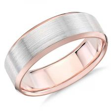 2 Colour Rose Gold Chamfered Edge Wedding Ring