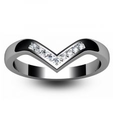 Wishbone  Shaped Diamond Wedding Ring 0.11ct