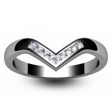 9ct White Gold 2.3mm Wishbone Diamond Ring 0.11ct