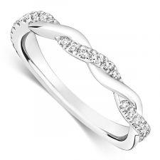 18ct White Gold Vintage Style Wedding Ring 0.18ct