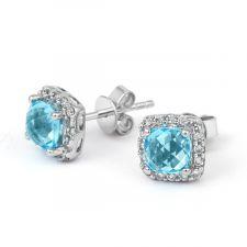 18ct White Gold Diamond & Blue Topaz Halo Earrings 0.20ct