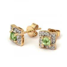 18ct Yellow Gold Diamond & Peridot earrings 0.09ct