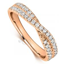18ct Rose Gold Cross Over Wedding Ring 0.45ct