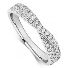 9ct White Gold Cross Over Diamond Ring 0.45ct
