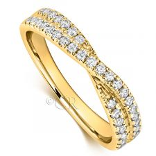 18ct Yellow Gold Cross Over Wedding Ring 0.45ct