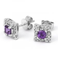 18ct White Gold Diamond & Amethyst Halo Earring 0.09ct