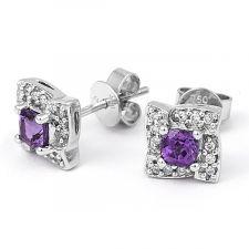 18ct White Gold Amethyst & Diamond Earrings 0.09ct