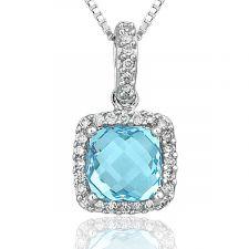 18ct White Gold Cushion Blue Topaz & Diamond Necklace