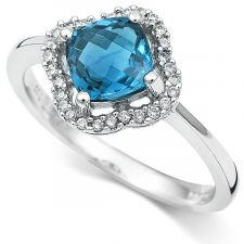 18ct White Gold Blue Topaz & Diamond Ring