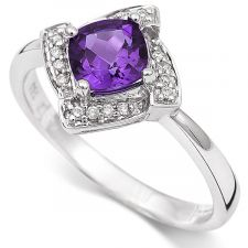 18ct White Gold Amethyst & Diamond Ring