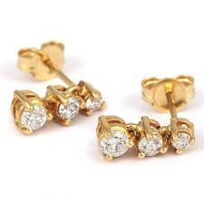 18ct Yellow Gold Trilogy Diamond Drop Earrings 1/2ct