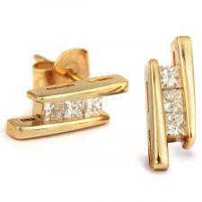 "18ct Yellow Gold Princess Cut ""Trilogy"" Diamond Earrings 1/3ct"