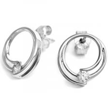 18ct White Gold Circular Earrings 0.20ct