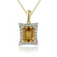 18ct Yellow Gold Citrine & Diamond Emerald Cut Necklace