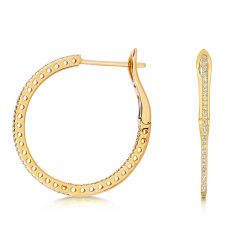 18ct Yellow Gold Diamond Hoop Earrings 0.25ct