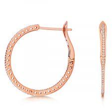 18ct Rose Gold Diamond Hoop Earrings 0.25ct