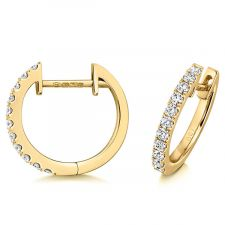 18ct Yellow Gold Diamond Hoop Earrings 0.21ct