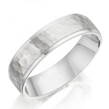 Hammered Finish Wedding Ring & Diamond Cut Edge