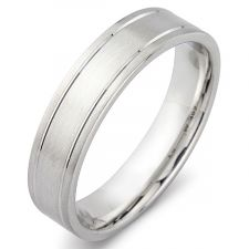 Men's Flat Court Satin Wedding Ring With Off Set V Grooves