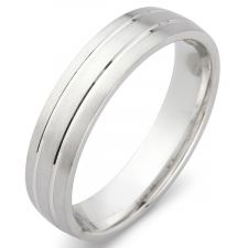Court Wedding Ring With 2 V Grooves