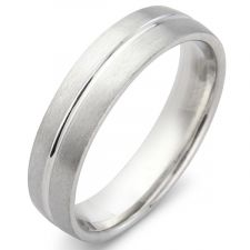 "Court Wedding Ring With A Centre ""V"" Groove"