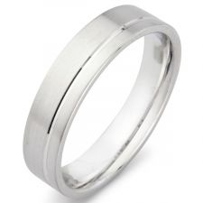 Flat Court Wedding Ring With Off Set Groove Satin Finish