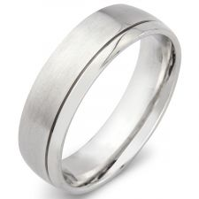 Court Wedding Ring With An Off Set Groove