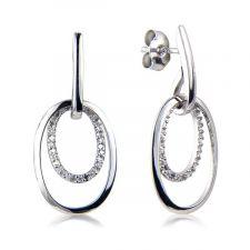 18ct White Gold Diamond Hoop Drop Earrings 0.21ct