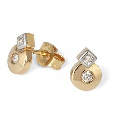 18ct Yellow & White Gold Diamond Earring