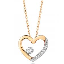 9ct Yellow Gold Diamond Heart Necklace 0.06ct