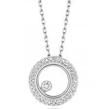 9ct Gold Diamond Circle Necklace 0.08ct