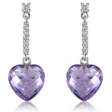 18ct White Gold Diamond & Amethyst Earrings