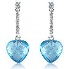 18ct White Gold Diamond & Blue Topaz Earring