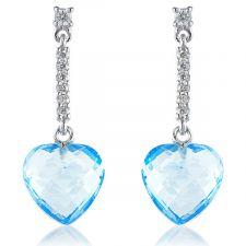 18ct White Gold Aquamarine & Diamond Drop Earring