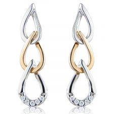 18ct White & Rose Gold Diamond Drop Earrings 0.05ct