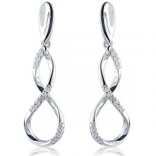 18ct White Gold Figure of 8 Diamond Drop Earrings 0.11ct