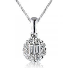 18ct White Gold Diamond Necklace 0.39ct
