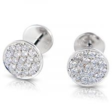 18ct White Gold Diamond Earring Pave Set 0.32ct