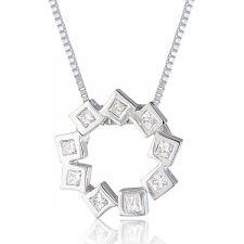 18ct White Gold Princess Cut Diamond Necklace 0.25ct