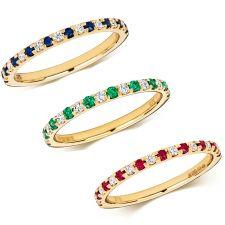 9ct Yellow Gold Diamond & Gemstone Claw Set Ring