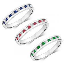 9ct White Gold Diamond and Gemstone 2mm Channel Set Ring