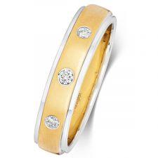 9ct White & Yellow Gold Diamond Wedding Ring