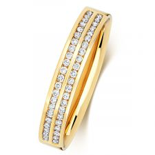 9ct Yellow Gold 3.5mm 2 Row Channel Set Diamond Ring 0.22ct