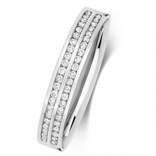 9ct White Gold 3.5mm 2 Row Channel Set Diamond Ring 0.22ct