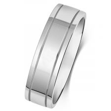 Flat Court Polished Wedding Ring With Offset Grooves