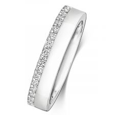 9ct White Gold 4.2mm Micro Set Diamond Ring 0.30ct