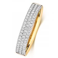 18ct Yellow Gold 3 Row Diamond Ring 0.34ct