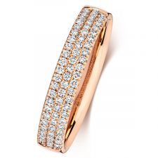 18ct Rose Gold 3 Row Diamond Ring 0.34ct