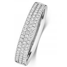 18ct White Gold 3 Row Diamond Ring 0.34ct