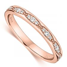 18ct Rose Gold Vintage Style Ring 0.15ct